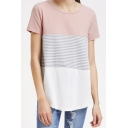 Fancy Chic Color Block Striped Pattern Round Neck Short Sleeves Summer T-shirt