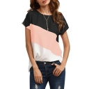 Leisure Color Block Round Neck Short Sleeves Summer T-shirt