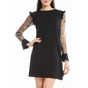 Pentagram Embellished Sheer Mesh Insert Long Sleeve Round Neck Ruffle Detail Mini A-Line Dress
