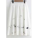 Small Boat Embroidered Elastic Waist Midi A-Line Skirt