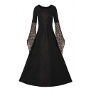 Gothic Lace Patchwork Lace-up Detail Square Neck Maxi Fit & Flare Dress