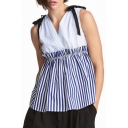 Chic Color Block Striped Printed V Neck Sleeveless Bow Detail Blouse