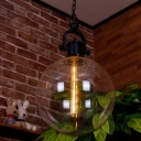 Industrial Orb Pendant Light Single Head Suspended Light with Closed Glass Shade in Black