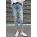 Chic Ripped Broken Hole High Waist Zipper Fly Straight Crop Jeans