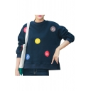 Comic Colorful Letter Printed Applique Round Neck Long Sleeve Loose Pullover Sweatshirt