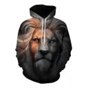 Cool Digital Lion Printed Long Sleeve Leisure Loose Hoodie for Couple