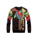 Trendy Feather Chain Print Round Neck Long Sleeves Pullover Sweatshirt