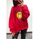 Simple Smiley Face Letter Print Round Neck Long Sleeves Loose Sweatshirt