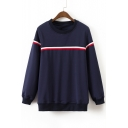 Simple Striped Pattern Round Neck Long Sleeves Pullover Sweatshirt