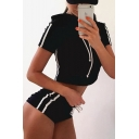 Contrast Striped Printed Side Short Sleeve Cropped Hooded Top with Drawstring Waist Shorts Co-ords