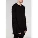 Leisure Style Round Neck Long Sleeves Autumn Plain Loose Tee