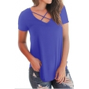 Women's Style Cross V-Neck Short Sleeve Plain Casual Tee