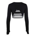 Contrast Striped Printed Hollow Out Back Long Sleeve Round Neck Cropped Tee