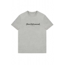 Man's Letter Printed Round Neck Short Sleeve Leisure Comfort Tee