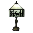Tiffany Elk Theme 6''W Table Lamp with Stained Glass Shade in Vintage Style