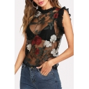 Chic Floral Embroidered Ruffle Detail Round Neck See Through Mesh Tank Top