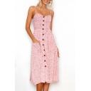 Popular Floral Print Spaghetti Straps Button Pocket Detail Midi Cami Dress