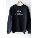 Unique Letter Print Round Neck Long Sleeves Pullover Sweatshirt