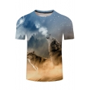 Digital Wolf Printed Round Neck Short Sleeve Leisure Tee