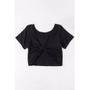 Natural Plain Knotted Back Scoop Neck Short Sleeve Cropped Tee