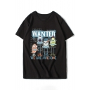 Hot Fancy Cartoon Letter Print Round Neck Short Sleeves Summer T-shirt