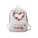 Chic Strawberry Letter Embroidered Zippered Backpack Casual School Bag