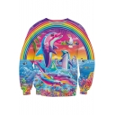 Digital Rainbow Dolphin Printed Round Neck Long Sleeve Pullover Sweatshirt