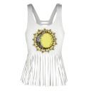 Chic Sunflower Sun Moon Print Scoop Neck Tassel Hem Casual Tank Top