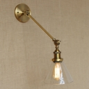 Retro Vintage One Light LED Wall Lamp with Clear Cone Shade
