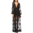 Trendy See Through Lace Insert V-Neck Wide Sleeve Floral Pattern Maxi Beach Dress