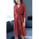 Vintage Style Choker V-Neck Bow Belted Waist Polka Dotted Midi Wrap Dress