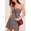 Classic Plaid Printed Spaghetti Straps Sleeveless Mini A-Line Dress
