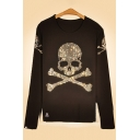Diamante Embellished Skull Printed Round Neck Long Sleeve Pullover Sweatshirt