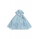 Girlish Dog Pattern Single Breasted Raw Edged Flap Pocket Hooded Denim Jacket
