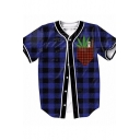 Fashion Comic Fake Pocket Plaid Printed V Neck Short Sleeve Buttons Front Tee