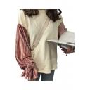 Retro Corduroy Patchwork Round Neck Long Sleeves Color Block Loose Sweatshirt