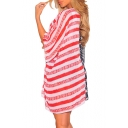 Color Block Pentagram Striped Printed Collarless 3/4 Length Sleeve Tunic Shirt