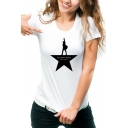 Character Letter Printed Round Neck Short Sleeve Comfort Tee