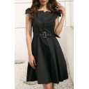 Plain Square Neck Short Sleeve Buttons Down Belt Embellished Midi A-Line Dress