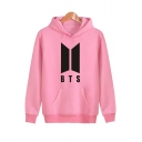 Simple Letter BTS Letter Print Long Sleeves Pullover Hoodie with Pocket