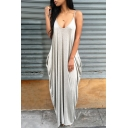 Chic Spaghetti Straps Plunge Neck Plain Loose Maxi Pockets Cami Dress