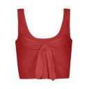 New Arrival Plain Tied Front Round Neck Sleeveless Cropped Tank