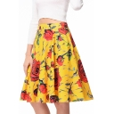 Retro High Waist Zipper Fly Floral Printed Midi A-Line Skirt