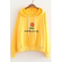 Natural Sunflower Floral Letter Embroidery Long Sleeves Pullover Hoodie