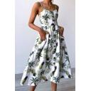 Summer Fashion Pineapple Leaf Print Button Pocket Detail Midi Cami Dress