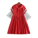 Girlish Peter Pan Collar Necktie Lace Panel Short Sleeve Mini A-line Dress