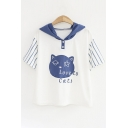 Summer Fashion Cat Letter Embroidery Striped Sleeve Ears Contrast Hooded Tee