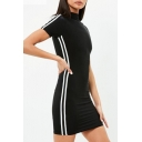 Sportive Striped Side High Neck Short Sleeve Mini Bodycon Dress