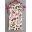 Summer Collection Tie Side Round Neck Floral Plant Leaf Print Mini Shift Dress