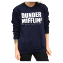 Natural Letter Print Round Neck Long Sleeves Pullover Sweatshirt